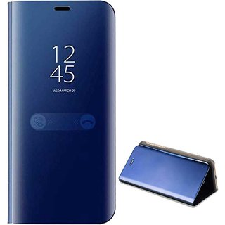 TBZ Luxury Mirror Clear View Magnetic Stand Flip Folio Case for RealMe 2 Pro -Blue