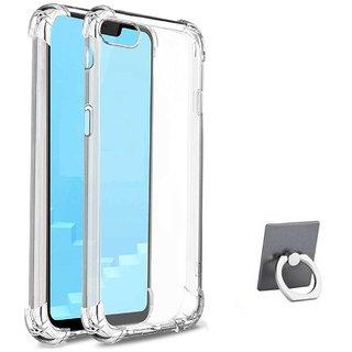 TBZ Soft Silicon Transparent Bumper Corner TPU Case Cover for RealMe C1 with Mobile Ring Holder