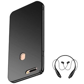 TBZ All Sides Protection Hard Back Case Cover for Realme U1 with Bluetooth Headset Headphones -Black