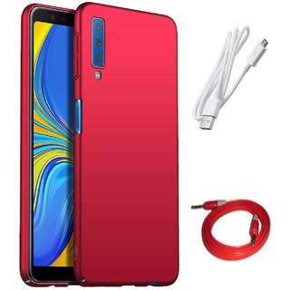 TBZ All Sides Protection Hard Back Case Cover for Samsung Galaxy A7 (2018) with Aux Cable and Data Cable -Red