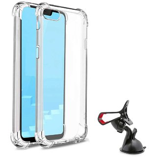 TBZ Soft Silicon Transparent Bumper Corner TPU Case Cover for RealMe C1 with Mobile Car Mount Holder Stand