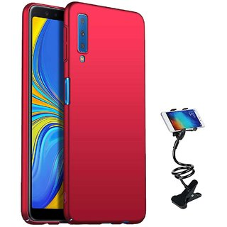 TBZ All Sides Protection Hard Back Case Cover for Samsung Galaxy A7 (2018) with Flexible Tablet/Phone Holder Lazy Stand -Red