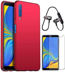TBZ All Sides Protection Hard Back Case Cover for Samsung Galaxy A7 (2018) with Bluetooth Headset Headphones and Tempered Screen Guard -Red