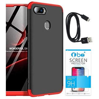 TBZ Ultra-thin 3-In-1 Slim Fit 360 Degree Protection Bumper Back Case Cover for RealMe 2 with Data Cable and Tempered Screen Guard -Black