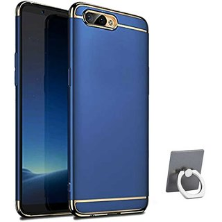 TBZ Ultra-thin 3 in 1 Electroplate Metal Texture Armor PC Hard Back Case Cover for RealMe C1 with Mobile Ring Holder -Blue