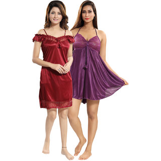 Be You Maroon-Purple Solid Women Babydoll / Nighty Pack of 2
