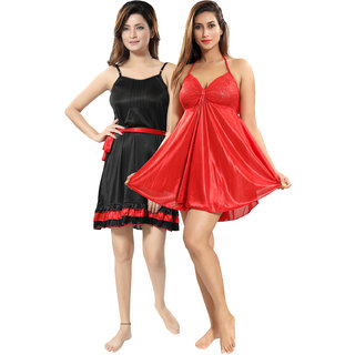 Be You Red-Black Solid Women Babydoll / Nighty Pack of 2