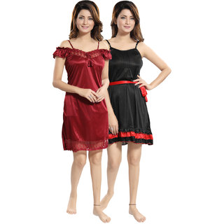 Be You Black-Red Solid Women Babydoll / Nighty Pack of 2