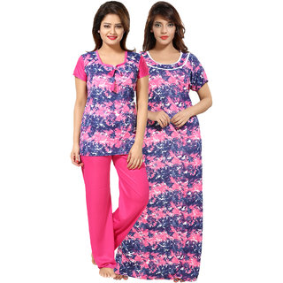 Be You Pink Graphic Print Women Nightgown  Nightsuit Set