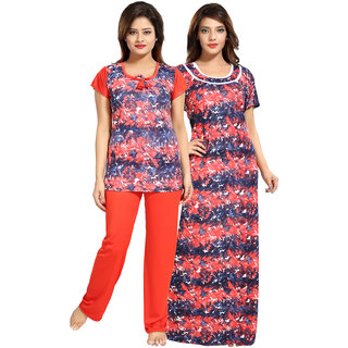 Be You Red Graphic Print Women Nightgown  Nightsuit Set