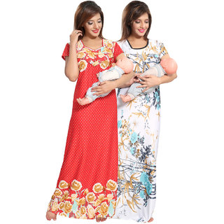 Be You Red-Blue Floral Women Feeding / Maternity Gowns Combo pack of 2