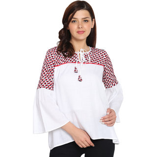 UNIYALS White Embroidered Round Neck Wrap Tops  For Women