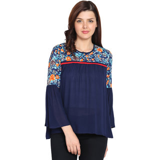 UNIYALS Blue Embroidered Round Neck Wrap Tops  For Women
