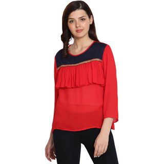 UNIYALS Red Embroidered Round Neck Wrap Tops  For Women