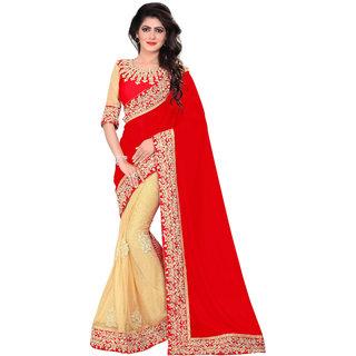 Bigben Textile Women's Red Embroidered Half-Half Georgette Designer Saree With Blouse