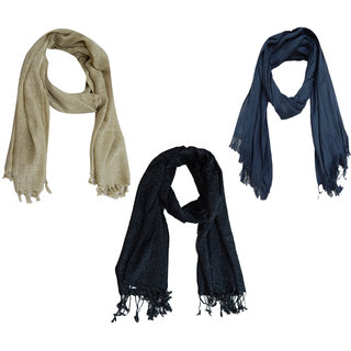 BOLLYWOOD ACCESSORY Viscose woven stole, Viscose lurex stole, Viscose solid dyed with fringes (sets of 3pcs) BA41049