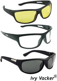 Ivy Vacker Unisex Combo of Wraparound Night Vision Drive Full Rim Yellow Sunglasses