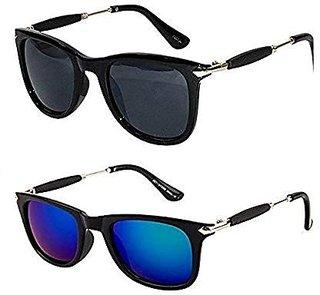 Ivy Vacker Golden Stick Black and Blue Mirrored Wayfarer Sunglasses Combo