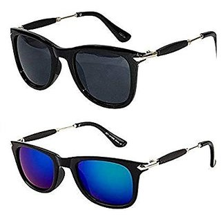 Ivy Vacker Golden Stick Black and Blue Mirrored Wayfarer Sunglasses Combo