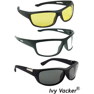 Ivy Vacker Unisex Combo of Wraparound Night Vision Drive Full Rim Yellow Sunglasses
