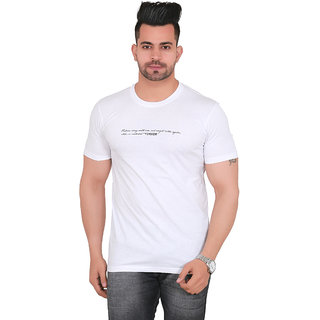 Yorker Solid Regular Fit White Tshirt for Mens Half Sleeve