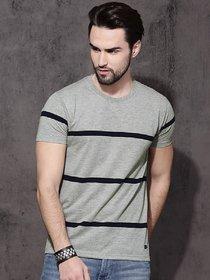 STYLESMYTH Men & Boy Round Neck Grey Striped Half Sleeves T-shirt