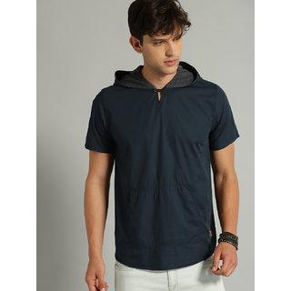 Stylesmyth Half Sleeves navy Hooded t-shirt