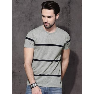 Stylesmyth Grey Strip Printed Half Sleeves T-shirt