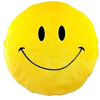 Besim Smiling Emoji Soft Pillow- Yellow Color