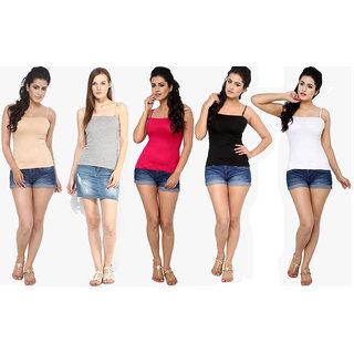 Vansh fashion Cotton Womens Pack of 5 Spaghetti (Cream, Grey,Magenta,Black,White )