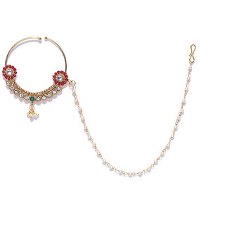 Zaveri Pearls Gold Tone Embellished With Pearls Chain Adjustable Nose Ring-ZPFK8229