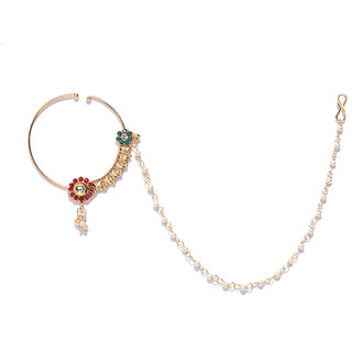 Zaveri Pearls Gold Tone Embellished With Pearls Chain Adjustable Nose Ring Zpfk8230