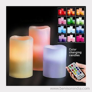 Hy Touch Color Changing  LED Candle Light with Remote Control and Timer (Set of 3 with Different Sizes)