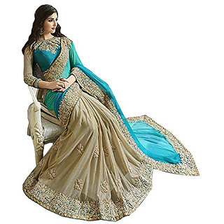 Bigeben Textile Georgette Half-Half Embroidered Saree With Blouse