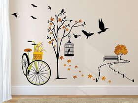 Asmi Collections Wall Stickers Beautiful Tree Cycle and Birds in Autumn