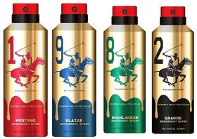 Beverly Hills Polo Club Gold Deo For Men (Pack of 4) (175ML EACH) (FLAVOURS MAY VARY)