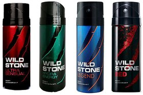 WILDSTONE DEODORANTS Spray COMBO OF 4( 150 ml EACH) ( FLAVOURS MAY VARY )