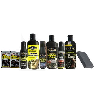 Amwax Car and Bike Care Kit-Tyre Shiner, All in one Polish,Carpet Cleaner, Wash n Wax, Scratch Remover,Windshield+ more
