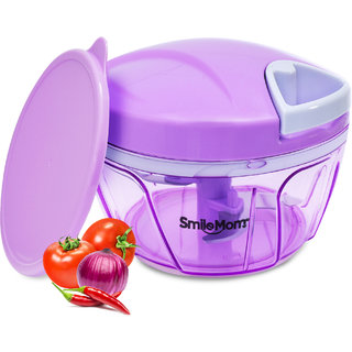 Smile Mom Swift Vegetable Chopper, Cutter Set with Storage Lid for Kitchen, 3 Stainless Steel Blade (400 ML)