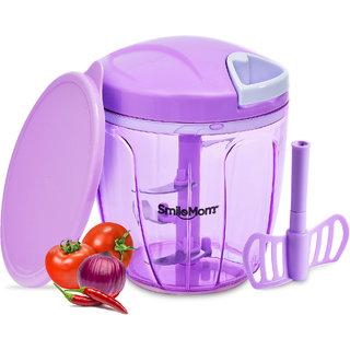 Smile Mom Chefs Vegetable Chopper, Cutter, Whisker Set with Storage Lid for Kitchen, 5 SS Blade + Whisker Blade (900 ML)