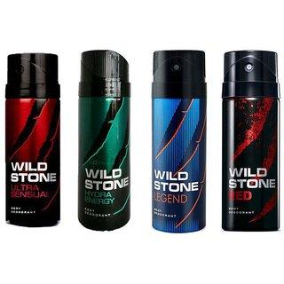 WILDSTONE DEODORANTS Spray COMBO OF 4( 150 ml EACH) ( FLAVOURS MAY VARY )