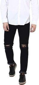 Xee Men Slim Fit Solid Black Jeans