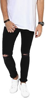 Xee Men's Slim Fit Black Jeans
