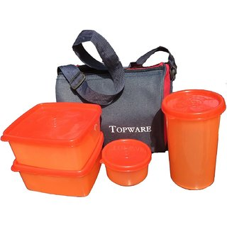 Topware Plastic Orange Lunch Box With Insulated Bag - 4 Pcs Set of 1