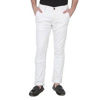 Xee Men's Regular Fit White Jeans