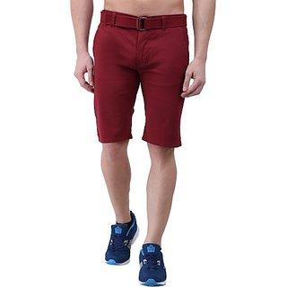 Xee Solid Men's Maroon Chino Shorts