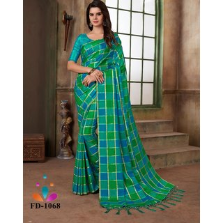 Bhavna Creation Blue And Sea Green Silk Designer Printed Saree
