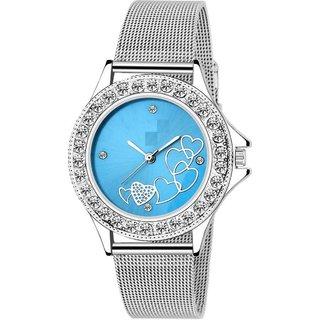 LUCASI BLUE LOVE Rich Look Designer Chain Stell Strap Fancy Dial Women Watch - For Girls
