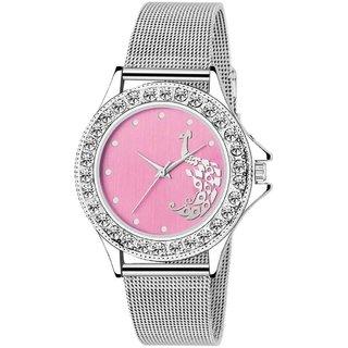 LUCASI ROSE PINK  Rich Look Designer Chain Stell Strap Fancy Dial Women Watch - For Girls
