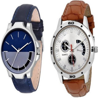 The Shopoholic Combo Latest Fashionable Blue And White Dial Analog Watch For Boys  Combo Watch Casual